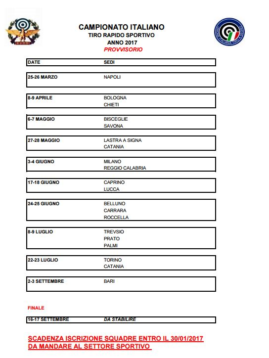 Calendario Sportivo.Calendario Provvisorio Tiro Rapido Sportivo 2017 Ctps